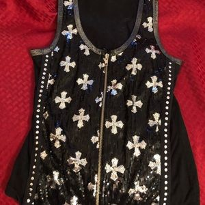 Black and silver sequined sleeveless shirt